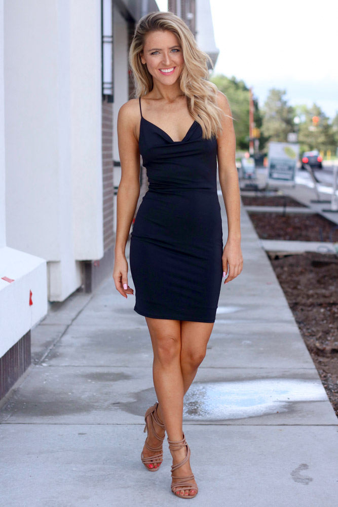 amber from every once in a style wearing | a little black dress