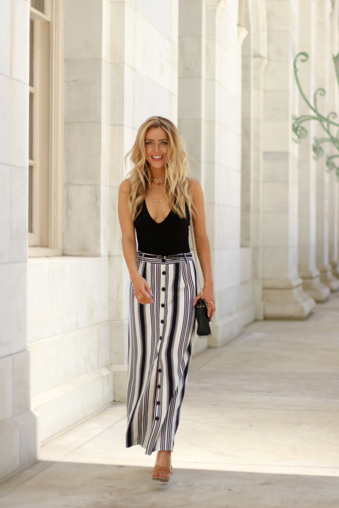Amber from Every Once in a Style is wearing || Striped Maxi || Black Body Suit