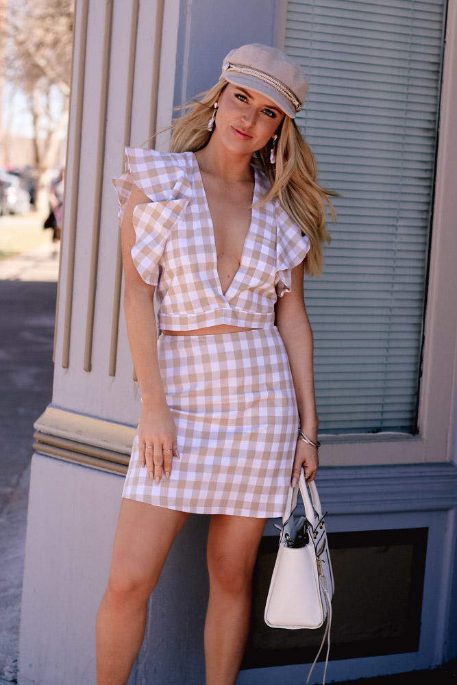 gingham set, spring outfit, spring 2018 trends,