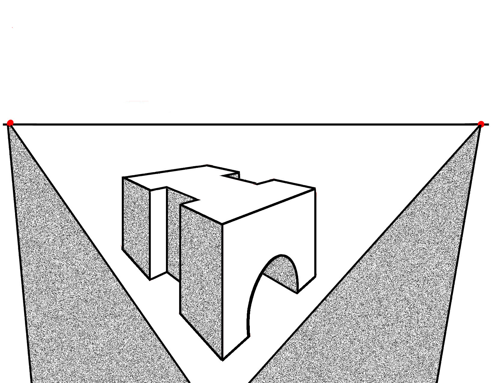 Two Point Perspective Step By Step Example Of A Complex Shape