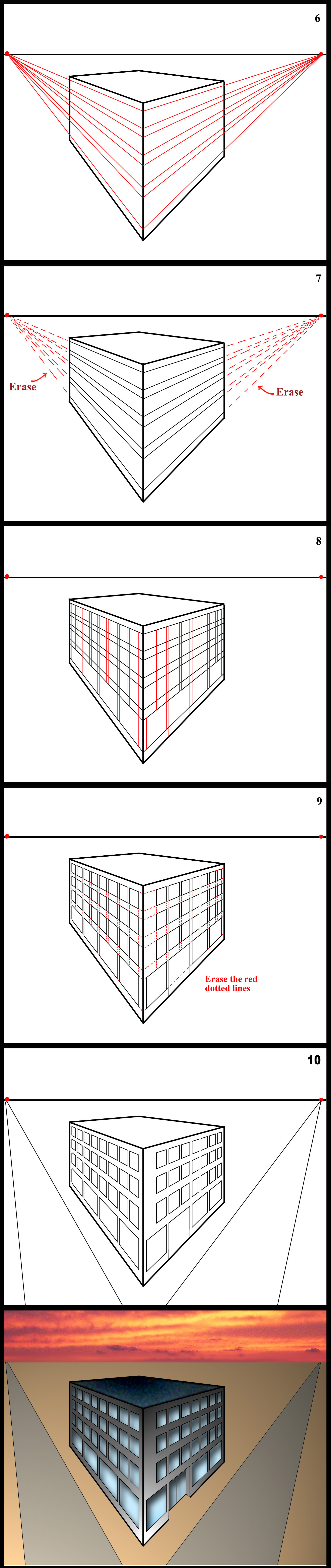 Two Point Perspective Step By Step Example Of A Building With Windows