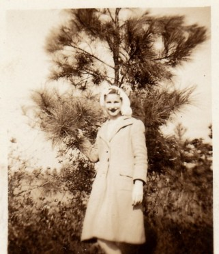 Mama standing in front of one of the pine trees. You can read Riding the Pines for the story.