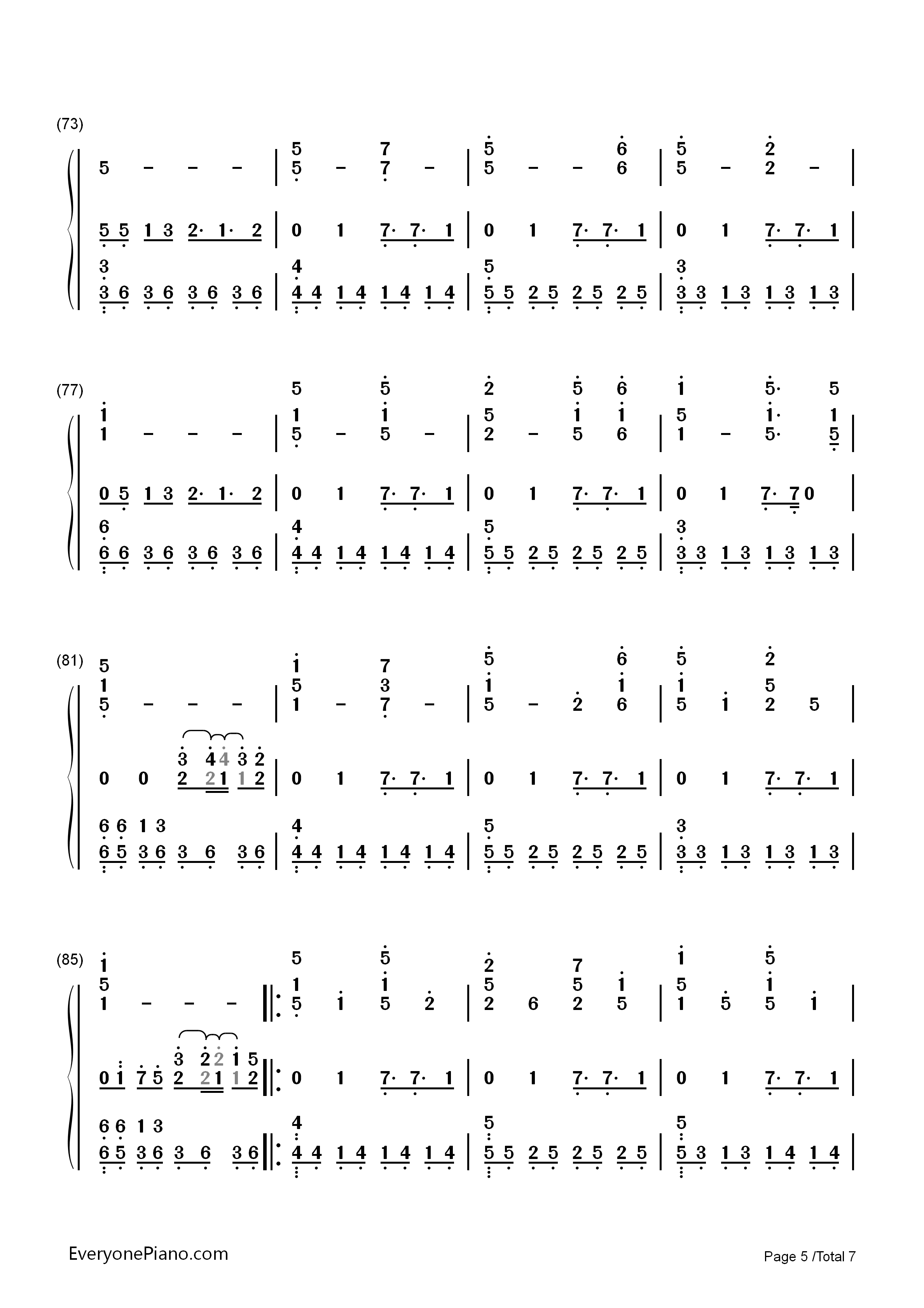 Undertale Undertale Theme Numbered Musical Notation