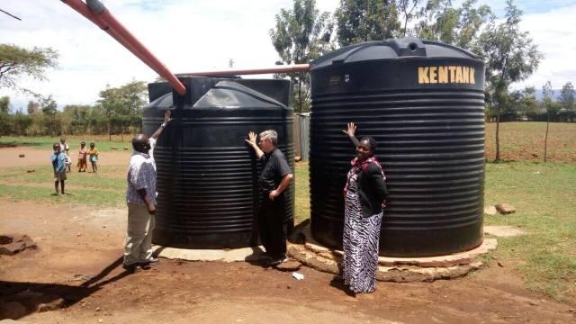 two water tanks in Kenya