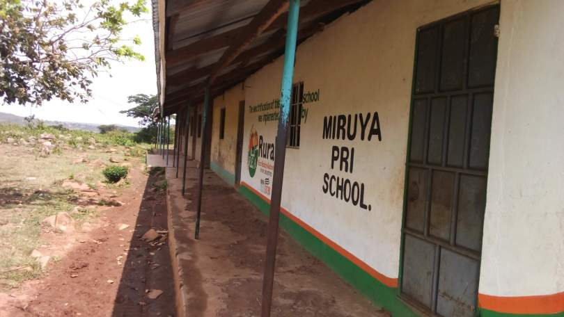 Outside wall of the Miruya Primary School