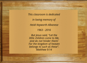 Dedication plaque for Heidi Albanese