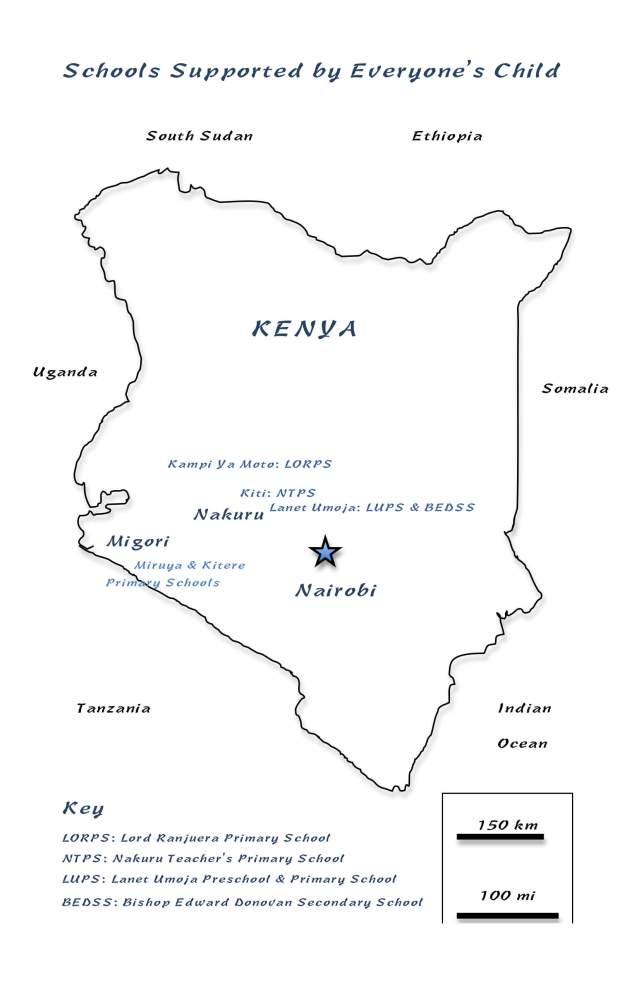 EC Annual Appeal: Where we are: Map of Kenya showing schools supported by Everyone's Child