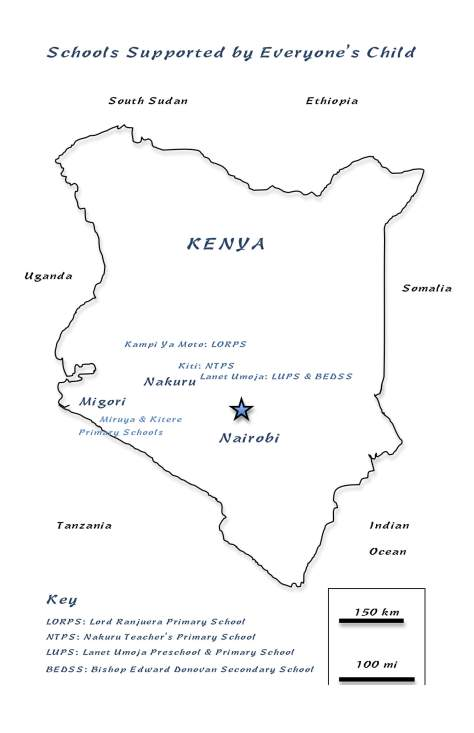 Where we are: Map of Kenya showing schools supported by Everyone's Child