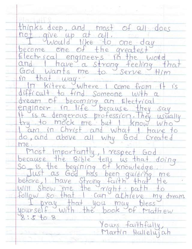 Martin's handwritten letter page 2