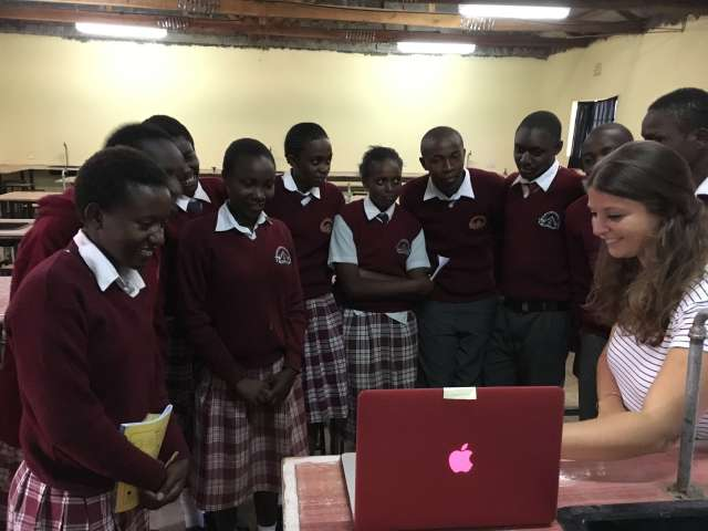 "Mentorship students at BEDSS having a ""value added"" moment as tehy watch the video make by the HUMS girls"