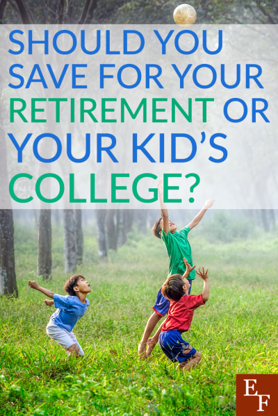 There are options to help pay for college, but there's only one option to save for your retirement. That's why you should save for your retirement first.