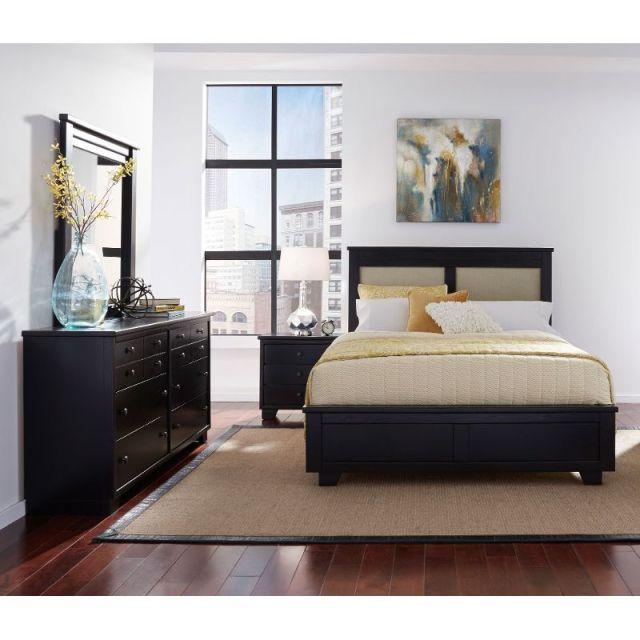 Black Contemporary 6 Piece Queen Upholstered Bedroom Set ...