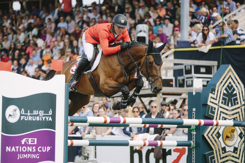sixth leg of the Furusiyya FEI Nations Cup Paul Estermann and Castlefield Eclipse produced one of the three sensational double-clears that clinched victory for Switzerland at today's sixth leg of the Furusiyya FEI Nations Cup™ Jumping 2016 Europe Division 1 League in Falsterbo (SWE). (FEI/LOTTAPICTURES)