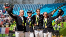 Roger Yves Bost, Penelope Leprevost, Kevin Staut and Philippe Rozier secured Olympic Jumping team gold for France for only the second time in the history of the Games at Deodoro Olympic Park in Rio de Janeiro (BRA) today. (Dirk Caremans/FEI)