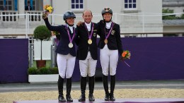 Gender equality: Germany's Michael Jung took individual gold in Olympic Eventing at London 2012, with Sara Algottsson Ostholt (SWE) in silver and Sandra Auffarth (GER) in bronze. (FEI/Dirk Caremans)