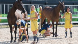 Olympic Eventing - Sweden's Frida Andersen (left) and Sarah Algotsson Ostholt (right) attracted the full attention of the photographers during today's Eventing first horse inspection at Deodoro Olympic Park in Rio de Janeiro (BRA). (FEI/Richard Juillart)