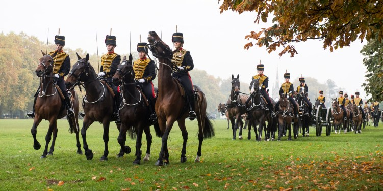 Pictured: Members of The King's Troop Royal Horse Artillery get into place before Her Majesty The Queen arrives. Image - Corporal Dek Traylor / MoD Crown