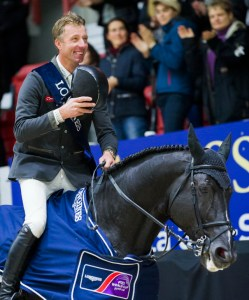 The Netherlands' Jur Vrieling was a happy man after clinching victory and maximum points in the second leg of the Longines FEI World Cup™ Jumping 2017/2018 Western European League at Helsinki, Finland today riding VDL Glasgow v. Merelsnest. (FEI/Satu Pirinen)