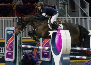 The USA's Kent Farrington proving why he is the world number one, taking victory last night with his 2016 Olympic Games partner Voyeur at the Longines FEI World Cup™ Jumping 2017 / 2018 in Toronto (CAN). (FEI / Cara Grimshaw)