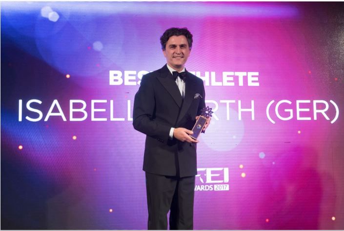 Soenke Lauterbach, Secretary General of the German Federation received the Best Athlete Award on behalf Isabell Werth (GER) who was unable to attend the FEI Award Gala 2017 ceremony in Montevideo (URU)