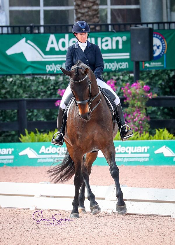 Jennifer Baumert and Handsome collect another winner's blanket at the 2018 AGDF.