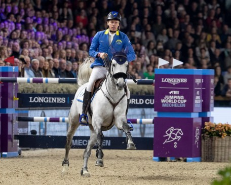 Germany's Christian Ahlmann and Clintrexo Z clinched a thrilling last-to-go victory at the ninth leg of the Longines FEI Jumping World Cup™ 2018/2019 Western European League at the Nekkerhal Stadium in Mechelen, Belgium today. (FEI/Dirk Caremans)