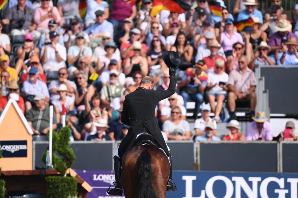Double Olympic champion Michael Jung (GER) with his ride fischerChipmunk FST put in an outstanding performance today taking the lead at the end of the Dressage phase at the Longines FEI European Eventing Championship Luhmühlen (GER). (FEI/ /Oliver Hardt for Getty images)