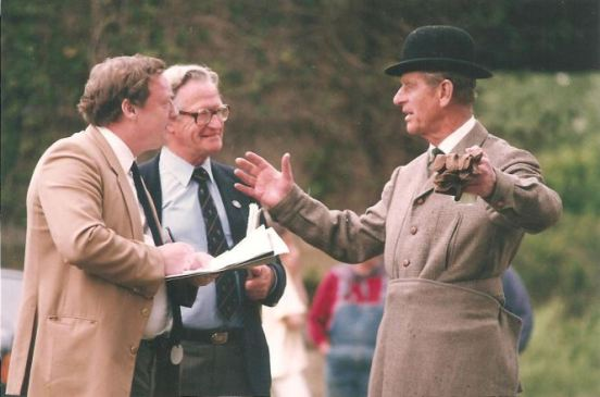 Pictured in 1992 - (L to R) Brian Giles of the Daily Mail, Alan Smith from the Daily Telegraph and HRH Prince Philip, Duke of Edinburgh. (Photo: Peter Hogan)