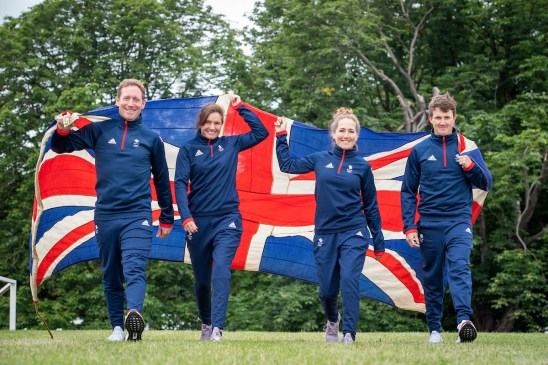 (L-R) Oliver Townend, Piggy March, Laura Collett and Tom McEwen - Great Britain selected Equestrian Eventing athletes - Tokyo2020