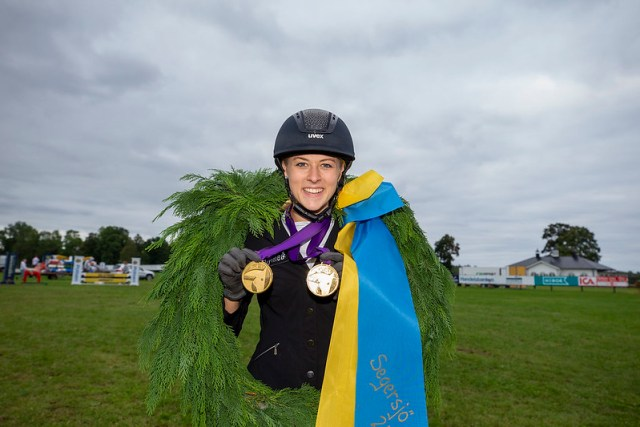 Segersjö Greta Busacker, GER and Scrabble during the showjumping for Young Riders.   Photo Copyright © FEI/Roland Thunholm
