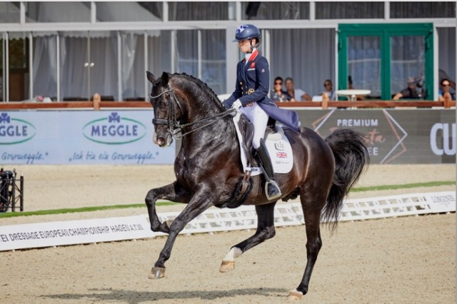FEI Dressage European Championship Hagen 2021 Charlotte Fry and Everdale secured the first-day advantage for Great Britain in the team event at the FEI Dressage European Championship 2021 in Hagen (GER) today. (FEI/Liz Gregg)
