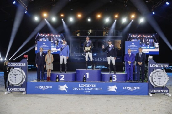 Podium finish for Spencer smith with Chrisitan Ahlmann 2nd and Jur Vrieling Photo: Longines Global Champions Tour