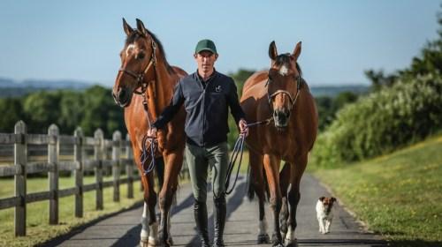 Scott Brash MBE with horses and dog