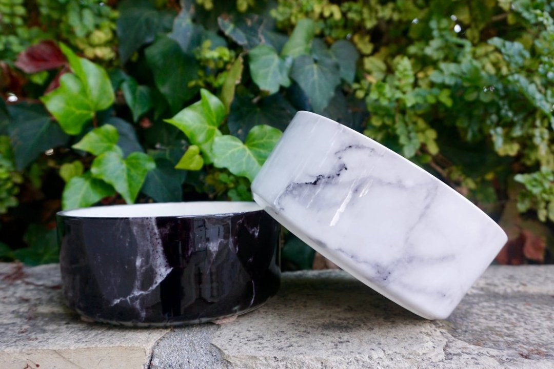 Ceramic dog Bowl in white marble by ShouldWeGo
