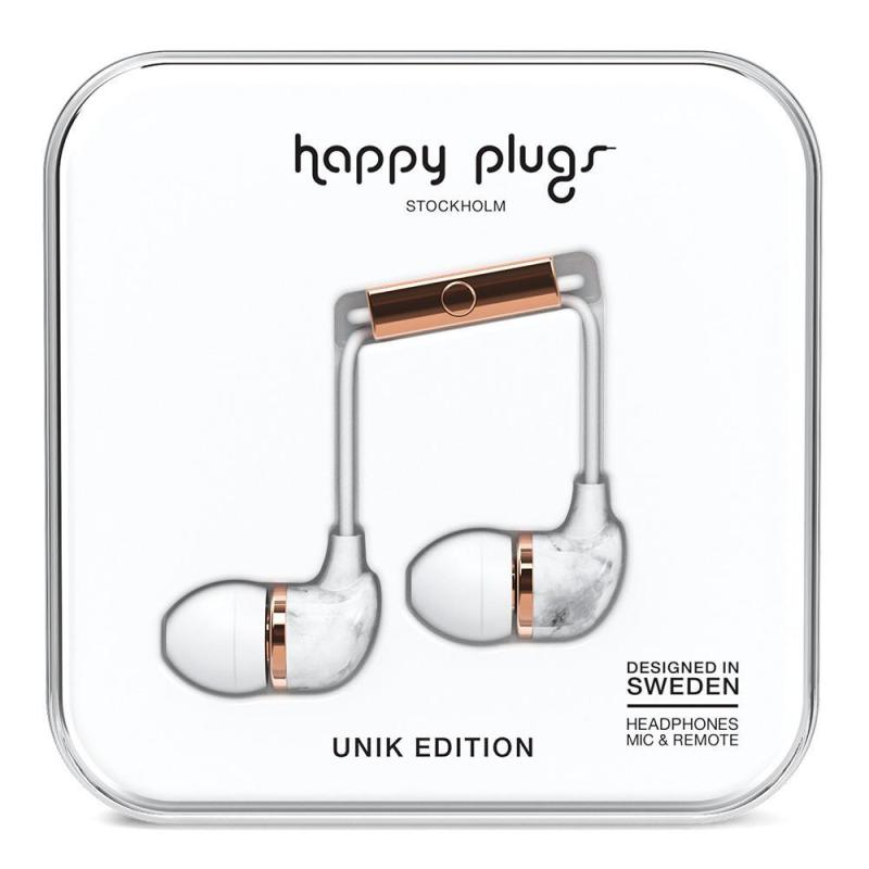 In-Ear, Wired Headphones in White Marble by Happy Plugs
