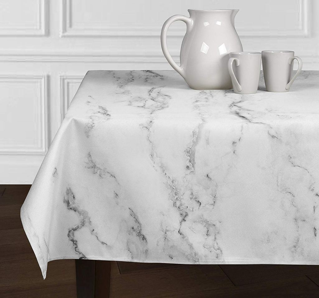 Marble tablecloth by A Luxe Home on Amazon