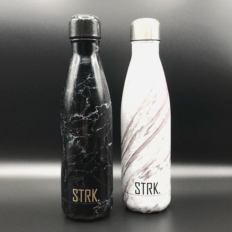 Carrara marble/ black marble travel bottles by STRK