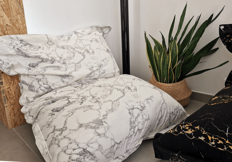 unSACCOdiMARMO! The Marble Lounge Pillow - Arabescato Marble print