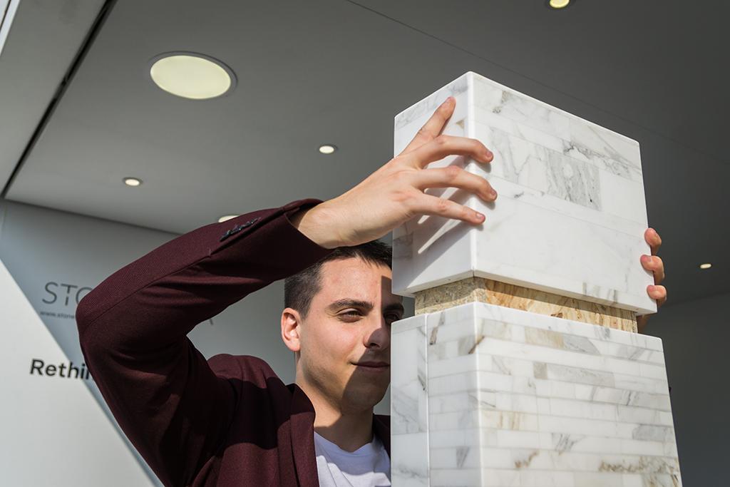 Giorgio Gaudio assembling FUTURA marble bookcase