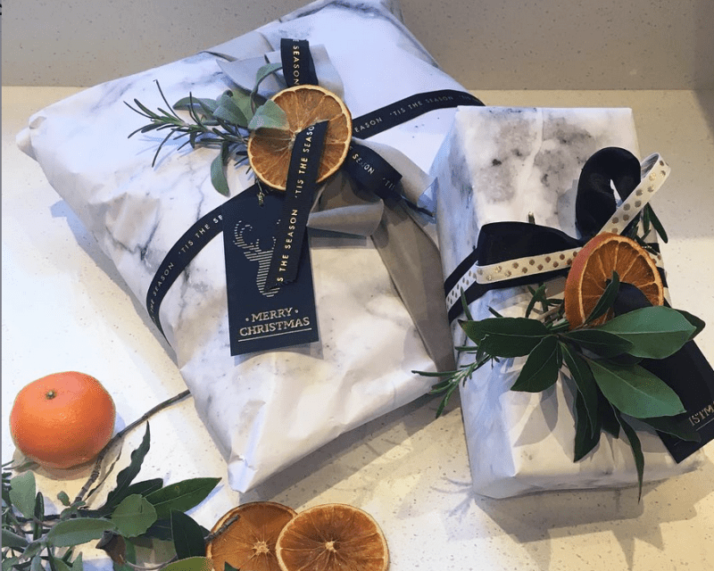 Carrara marble wrapping paper with dried oranges - original xmas gift wrapping