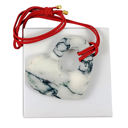 Heart shaped marble pendant - paonazzo marble jewel