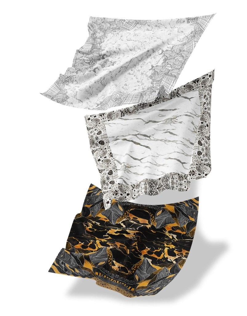 Foulard in seta - marble silk headscarf