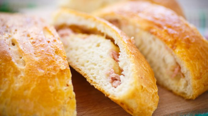 baked bread stuffed with cheese and sausage