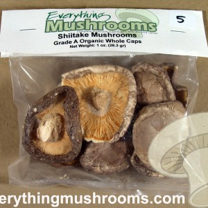 Shiitake Mushrooms, Lentinula edodes, Grade A Organic Whole Caps - 1oz pack