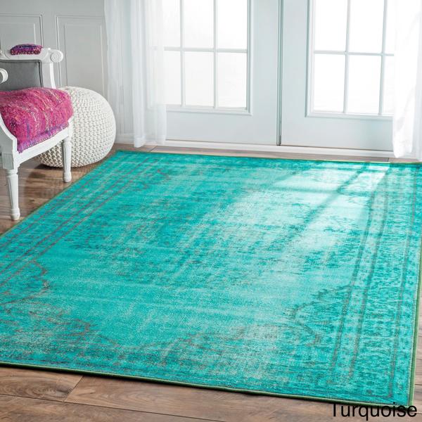nuLOOM Vintage Inspired Turquoise Overdyed Rug