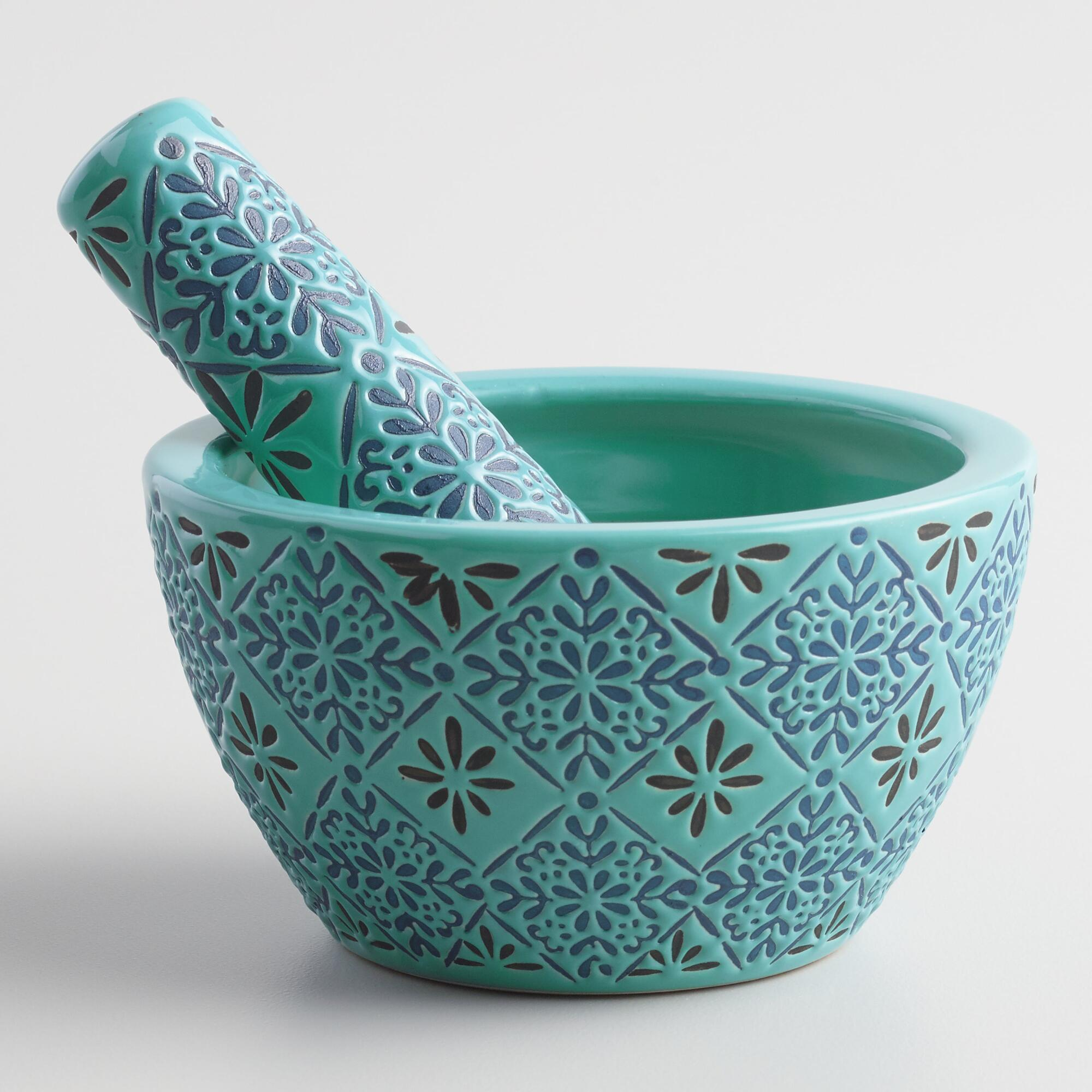 Blue Tile Ceramic Mortar and Pestle