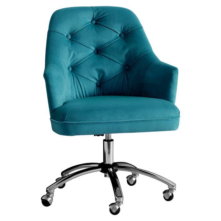 Peacock Velvet Tufted Desk Chair  Everything Turquoise