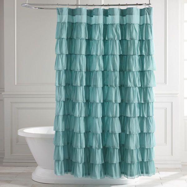 Turquoise Ruffled Shower Curtain