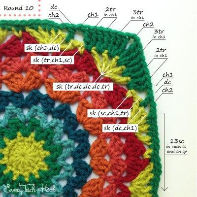Marigold crochet afghan block pattern photo tutorial round 10