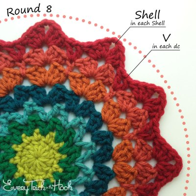 Marigold crochet afghan block pattern photo tutorial round 8